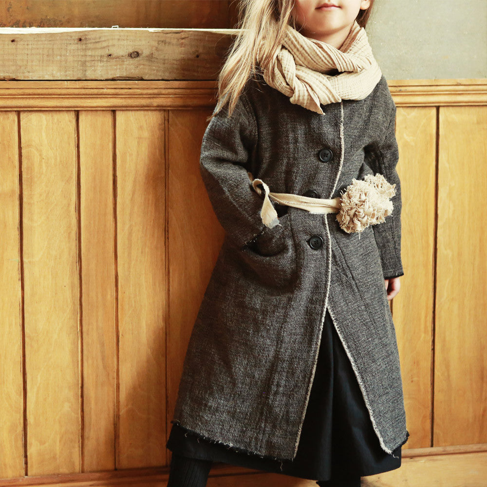 Vienna Autumn Coat for little girls, fall coat in grey