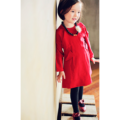 Basel Dress in red, girl long sleeve dress