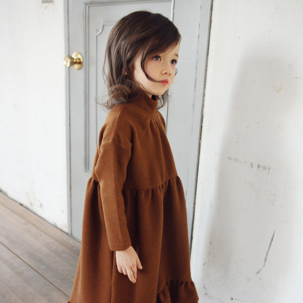 Adele Maxi Ruffle Dress, little girls long sleeve maxi dress in brown