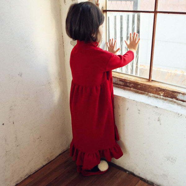 Adele Maxi Ruffle Dress, little girls long sleeve maxi dress in red