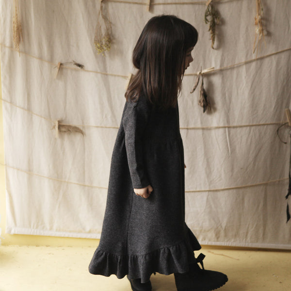 Adele Maxi Ruffle Dress, little girls long sleeve maxi dress in charcoal