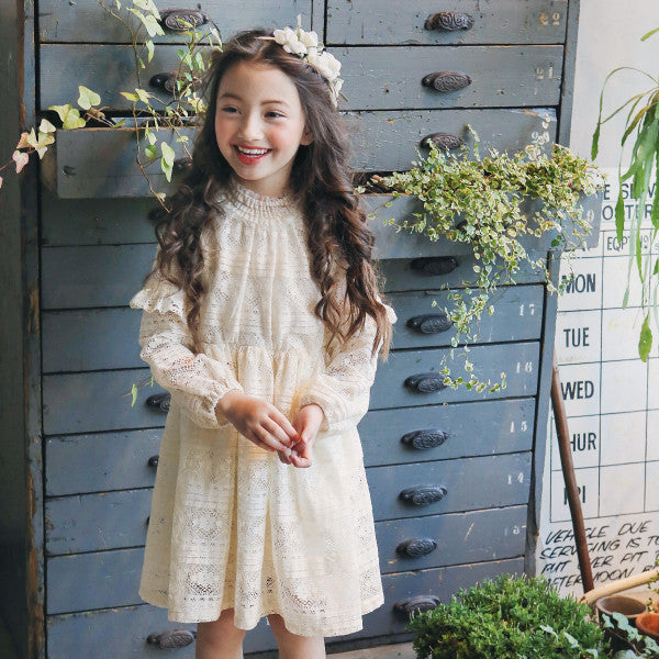 Ainsley Lace Dress, little girls lace ruffle dress in cream