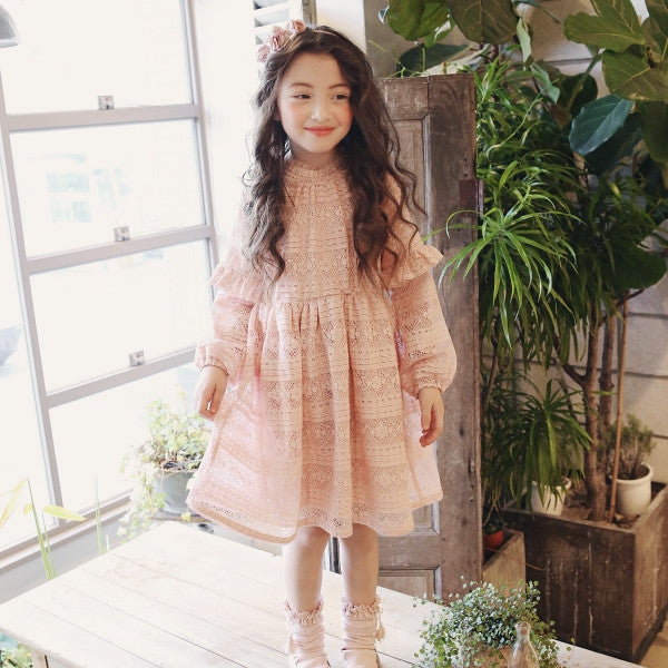 Ainsley Lace Dress, little girls lace ruffle dress in p