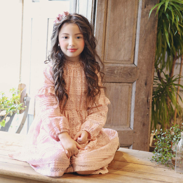 Ainsley Lace Dress, little girls lace ruffle dress in pink