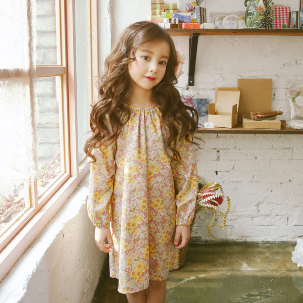 Ali Ribbon Dress, little girls ribbon floral dress in yellow