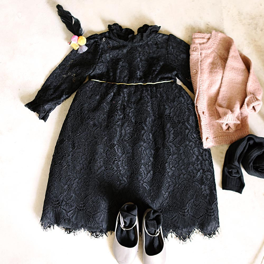Pretty flower girl Amber Lace Dress with scallop hem in black
