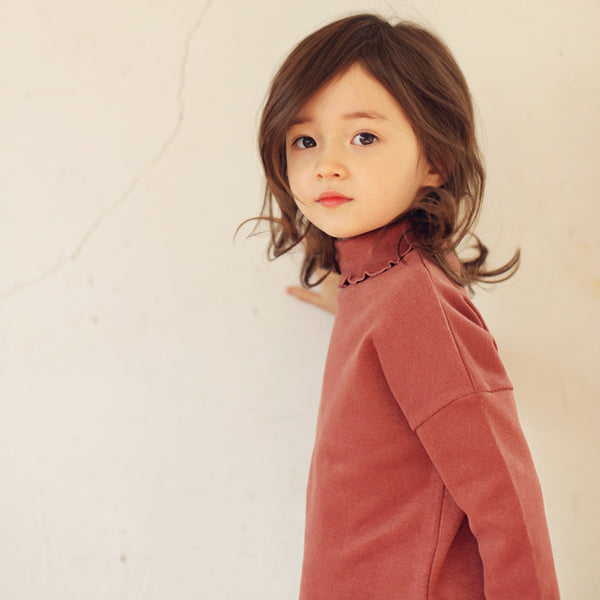 Andes Ruffle Top, little girls long sleeve turtleneck top in pink