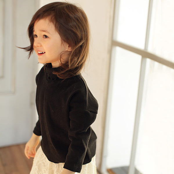 Andes Ruffle Top, little girls long sleeve turtleneck top in black