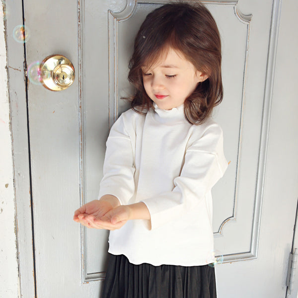 Andes Ruffle Top, little girls long sleeve turtleneck top in ivory