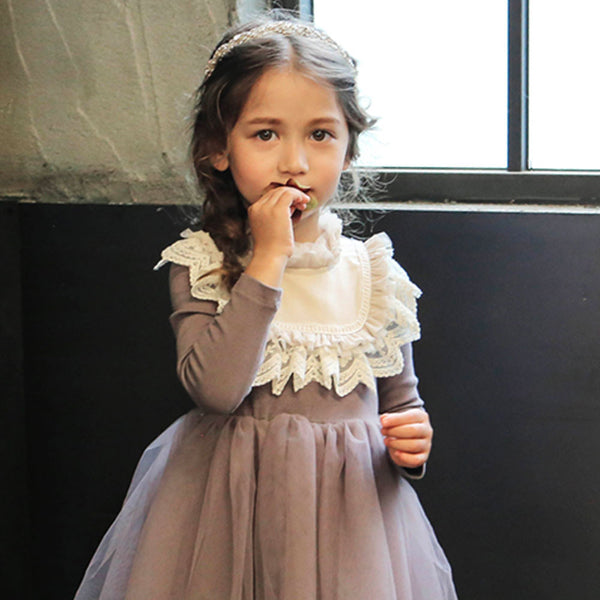 Little girl's Andrea Lace Bib tulle dress in purple