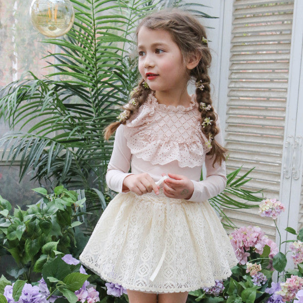 Andy Crochet Skirt, little girls crochet skirt in cream