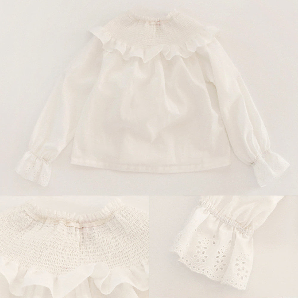 Angie Ruffle Blouse, little girls vintage long sleeve blouse in white
