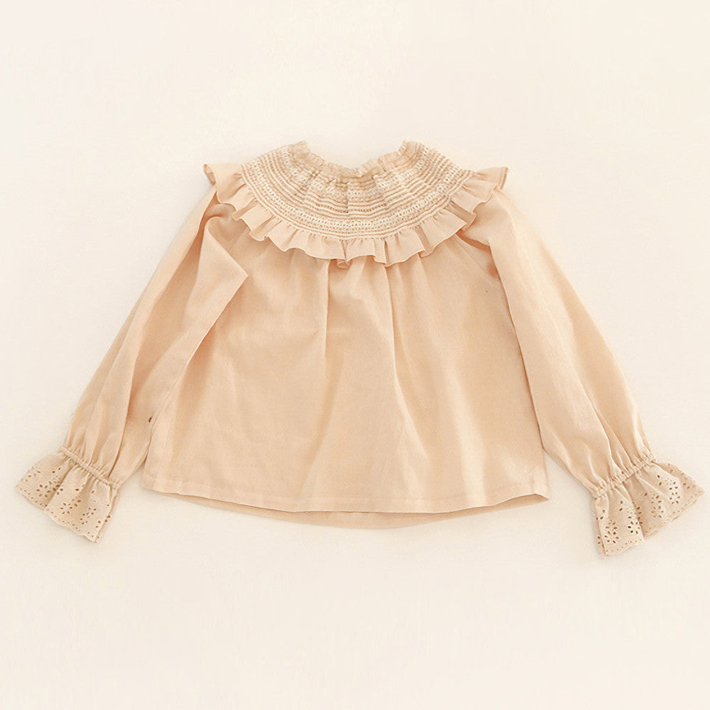 Angie Ruffle Blouse, little girls vintage long sleeve blouse in pink