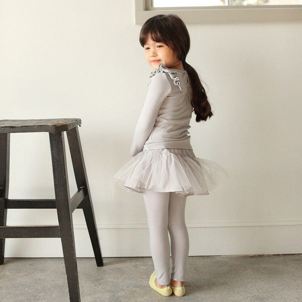 Ariel Skirted Leggings, little girl tulle skirted leggings in grey