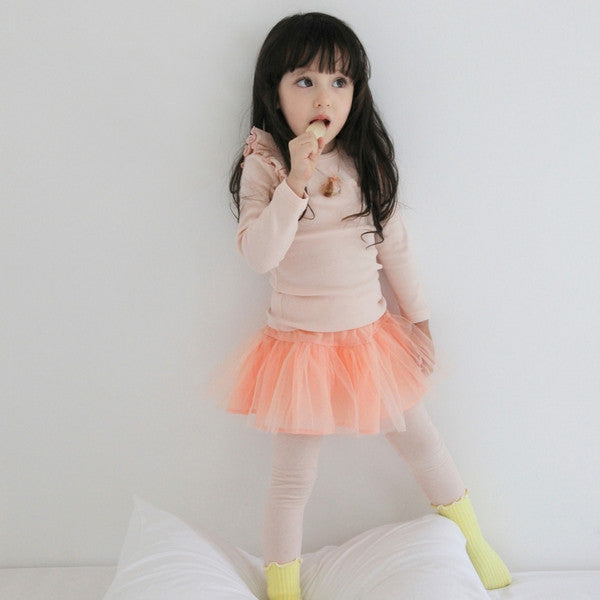Ariel Skirted Leggings, little girl tulle skirted leggings in peach pink