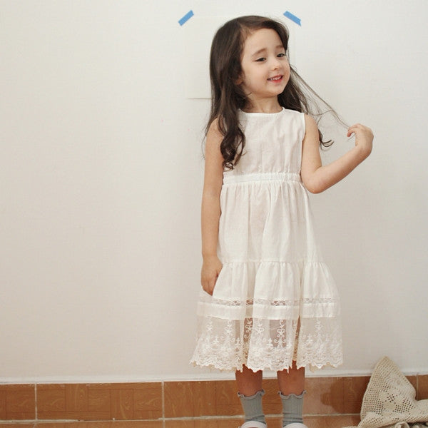 Aubrey Lace Dress, little girl lace shirring dress in ivory