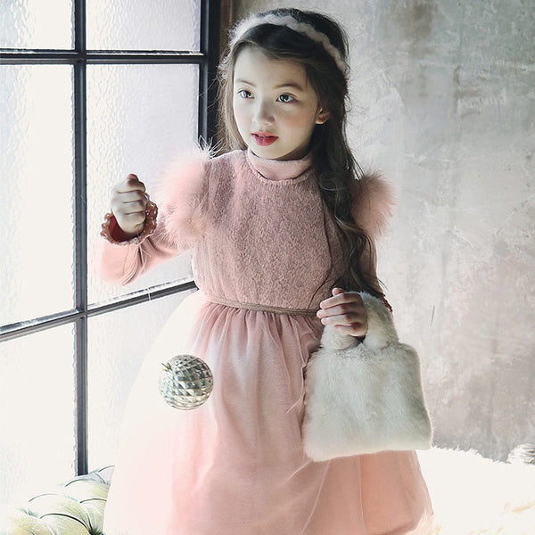 Baylie Fluffy Sleeveless Dress, little girls sleeveless winter dress in pink