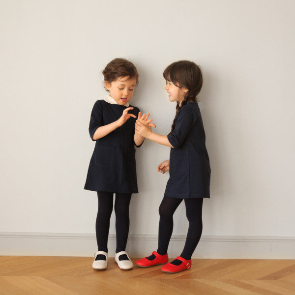 Billy Basic Dress, little girls basic dress with 2 pockets in navy