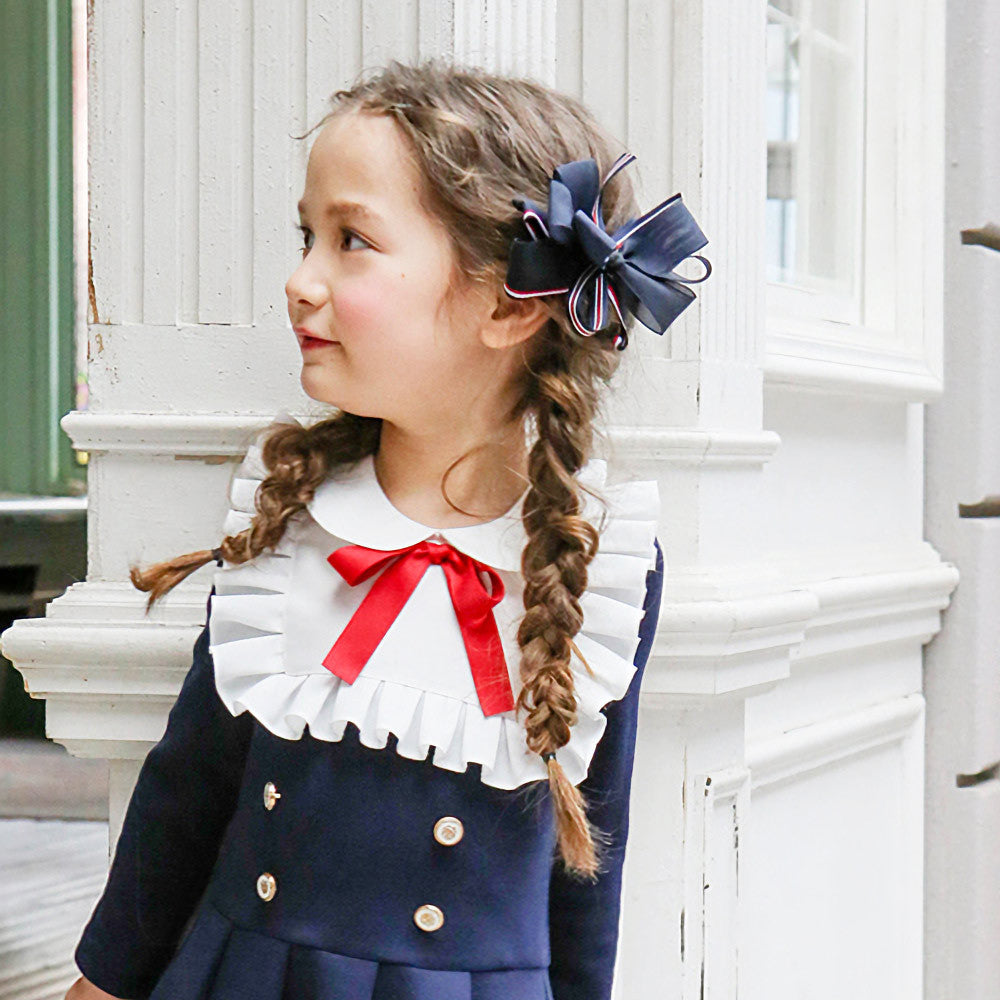 Blaine Ribbon Hair Clip, little girls preppy school girl hair accessory in navy
