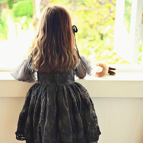 Brittany Lace Dress, little girls long sleeve dress in black
