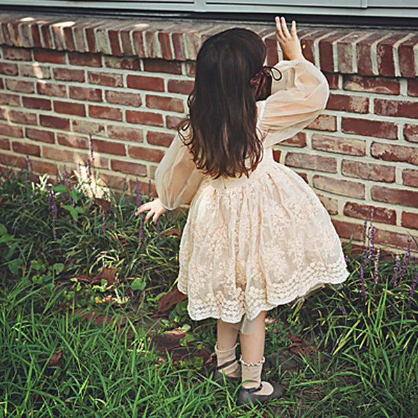 Brittany Lace Dress, little girls long sleeve dress in beige