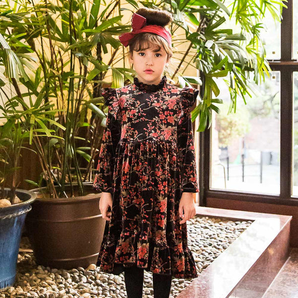 Brooke Floral Velvet Dress for little girls