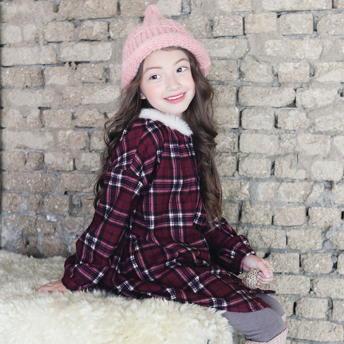 Candy Plaid Dress, little girls long sleeve shirt dress in wine