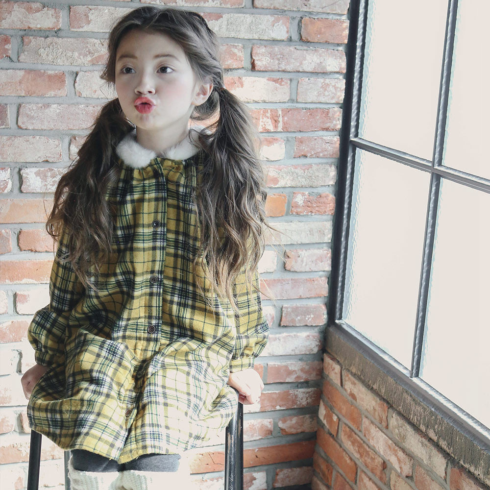 Candy Plaid Dress, little girls long sleeve shirt dress in mustard