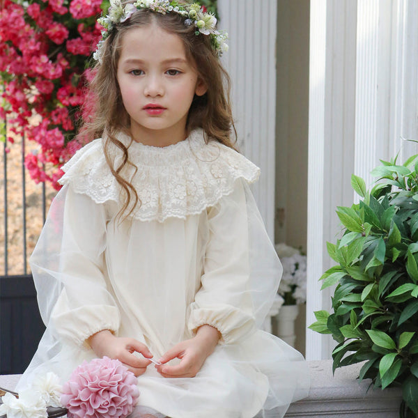 Carrington Lace Dress, little girls lace dress in cream