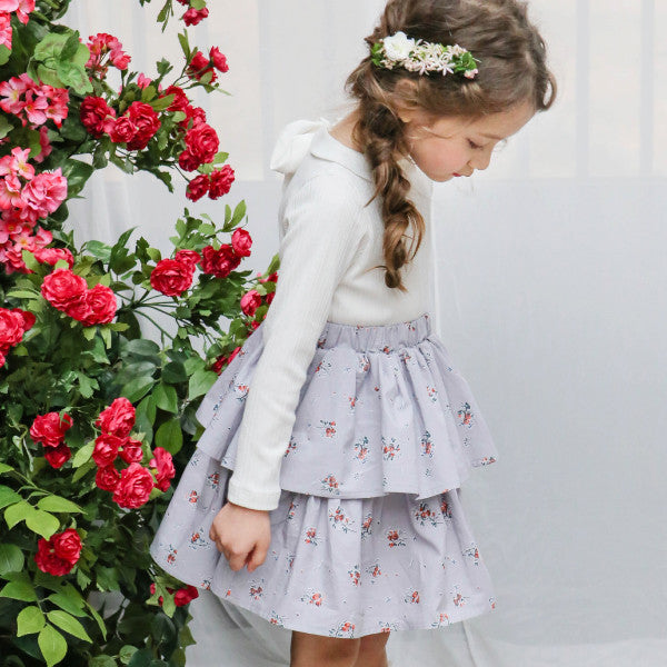 Carson Ruffle Dress, little girls ruffle dress with floral prints in ivory