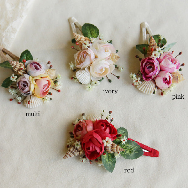 Cary Floral Hair Clip, little girls floral hair piece with sea shell