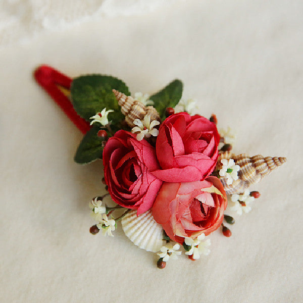 Cary Floral Hair Clip, little girls floral hair piece with sea shell in red