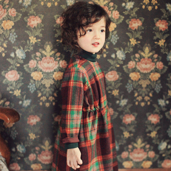 Casper Plaid Dress, little girls long sleeve maxi dress