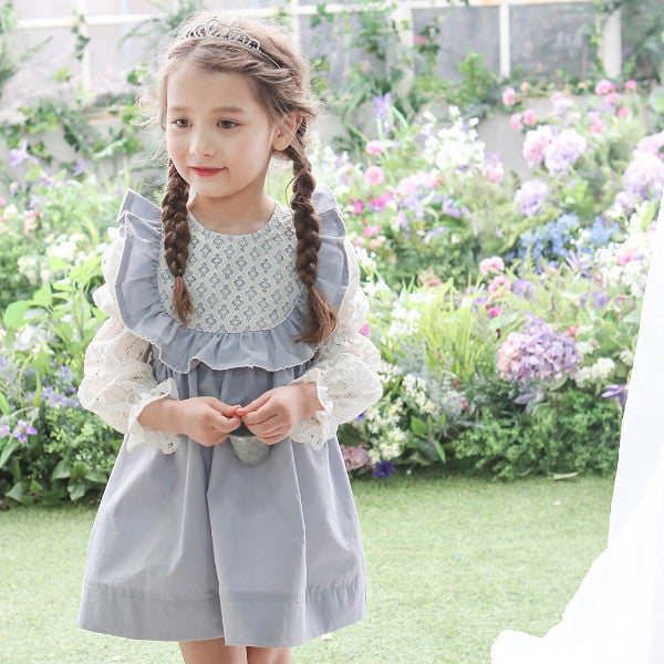 Cecil Ruffle Dress, little girls ruffle lace dress in grey