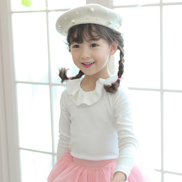 Cecilia Ruffle Top, little girls basic top in white