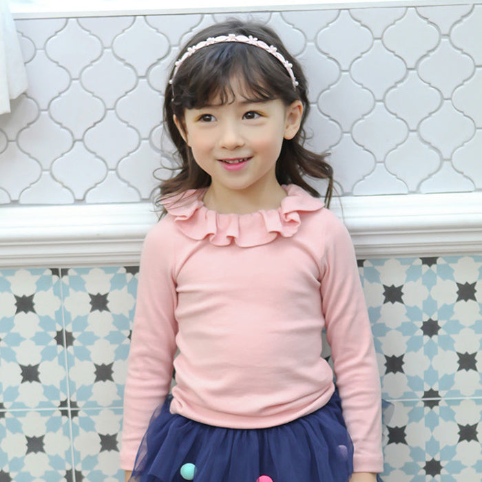 Cecilia Ruffle Top, little girls basic top in pink