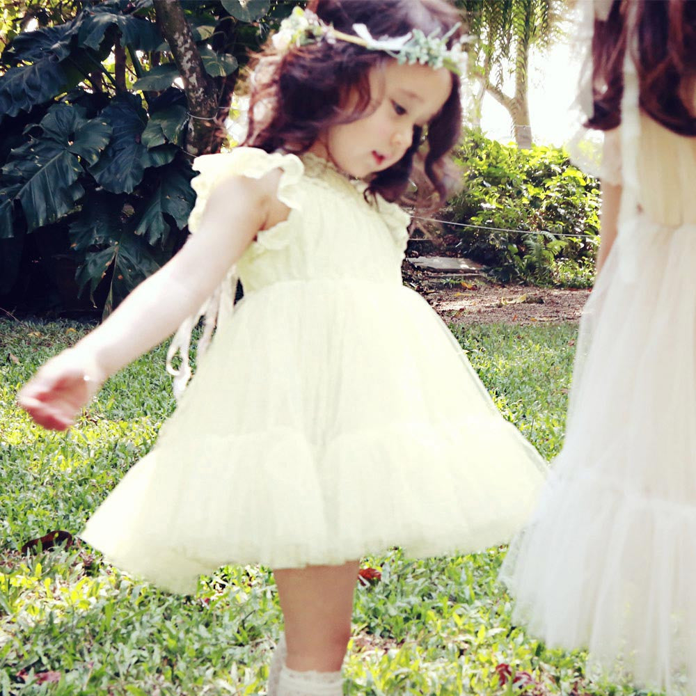 Charlotte Royal Dress, little girls tulle dress in Ivory