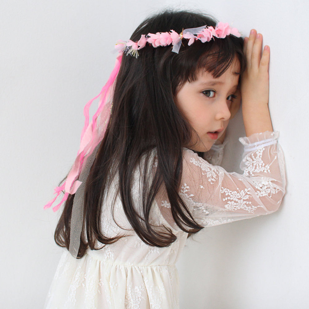 Chastity Lace Dress, little girls lace pleated tull dress in cream