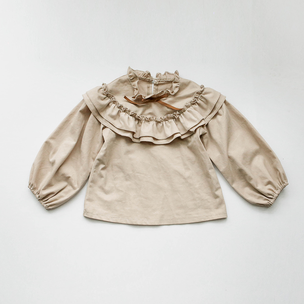 Claire ruffle blouse in beige