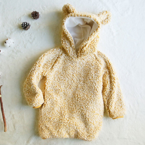 Coco Bear Hoodie, little girls oversized hoodie in yellow