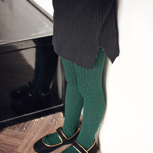 Dara Knitted Tights for girls in green