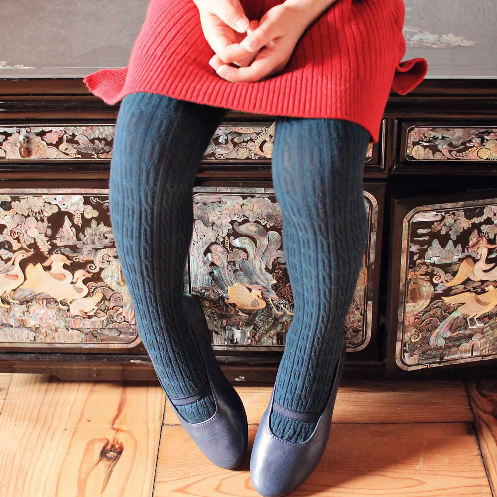 Dara Knitted Tights for girls in blue