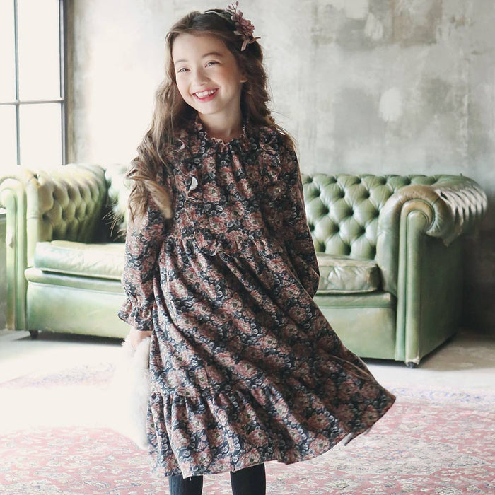 Ebony Floral Dress, little girls long sleeve dress in pink