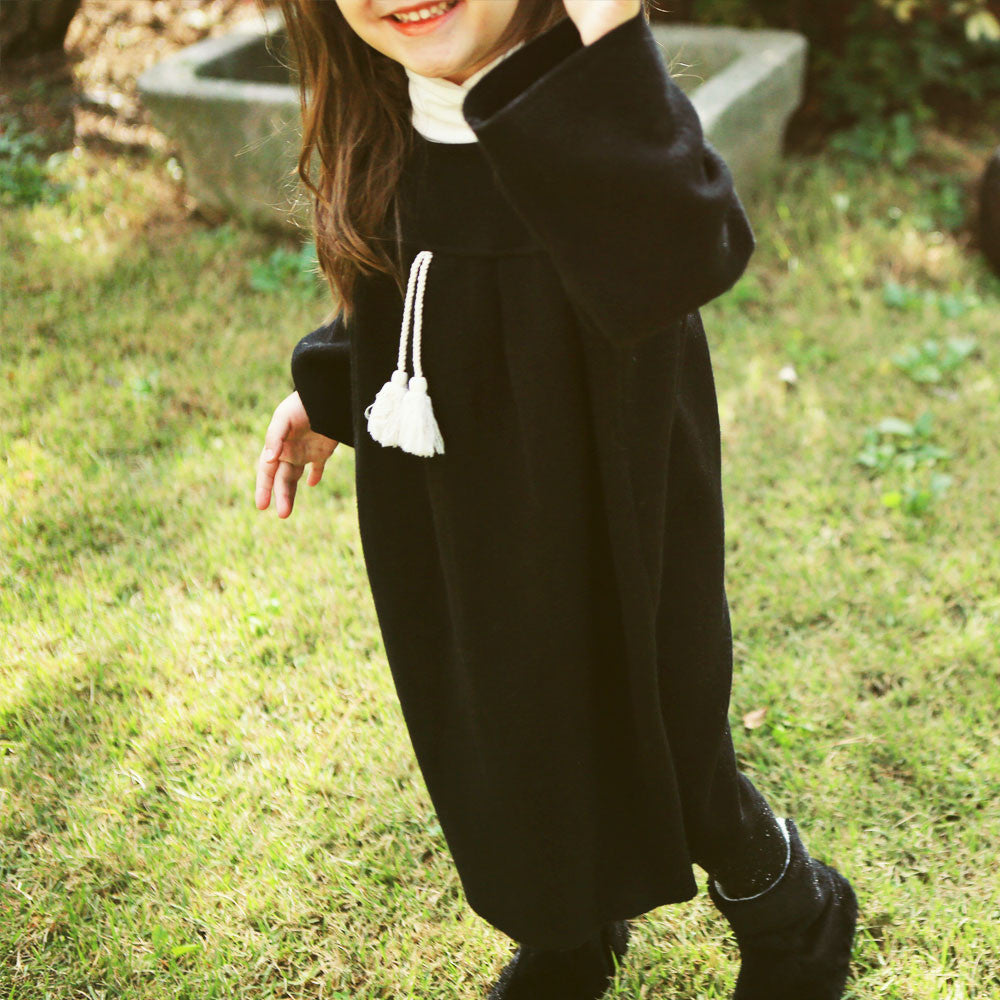 Eli Oversized Tassel Dress, little girls oversized winter dress in black