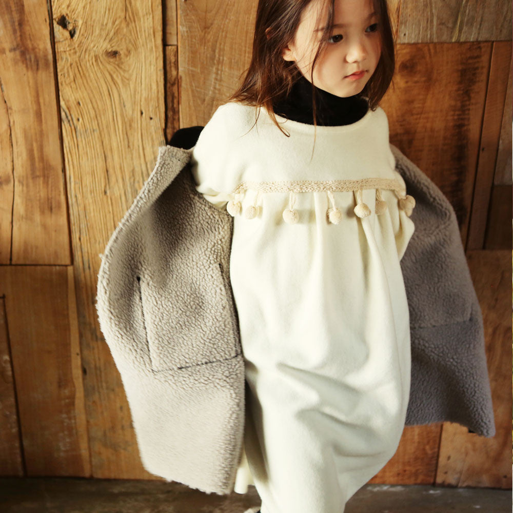 Eli Oversized Tassel Dress, little girls oversized winter dress in cream