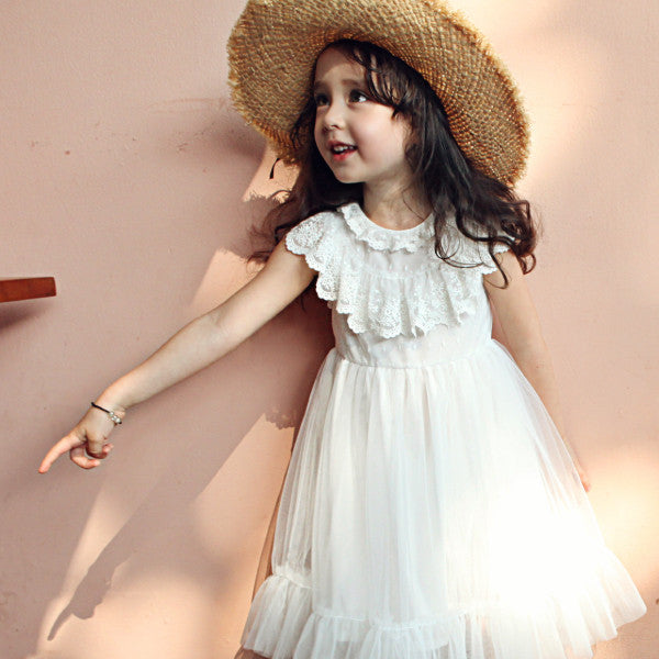 Elora Tulle Dress, little girls lace dress in Ivory