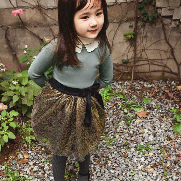 Kara gold Metallic Tulle Skirt for little girls