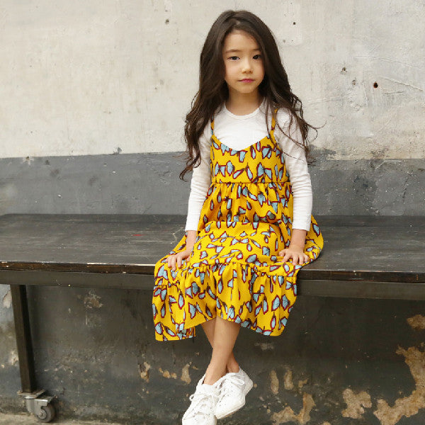 Erin Butterfly Dress, little girls butterfly printed maxi dress in yellow