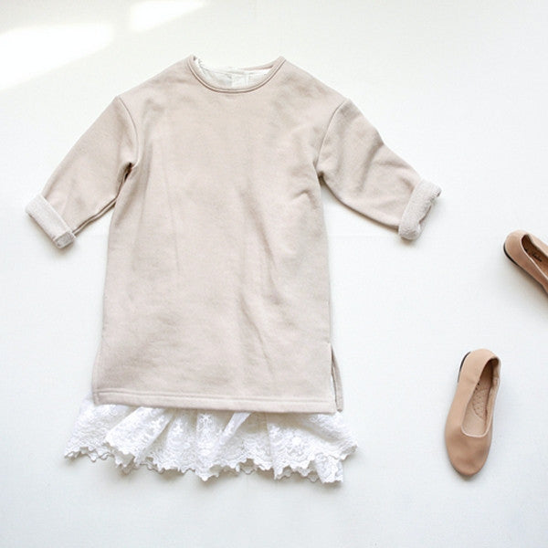Fabian Cotton Dress, little girl cotton long sleeve dress in beige