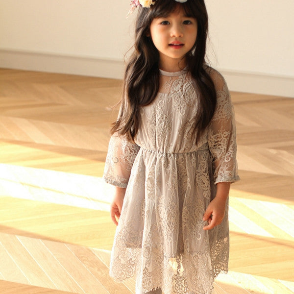 Florian Lace Dress for little girls, lace dress in grey